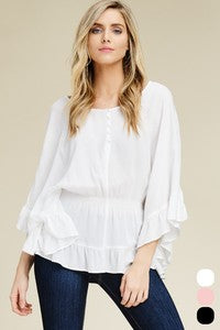 Ruffle Sleeves Smocking Waist Blouse - Zipora's Closet Boutique
