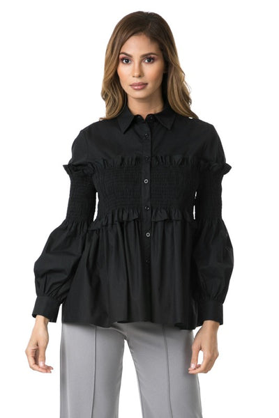 Smocking with Ruffle Blouse Shirt - Zipora's Closet Boutique
