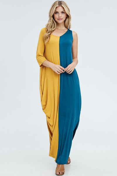 Dual Color Slit Dress - Zipora's Closet Boutique