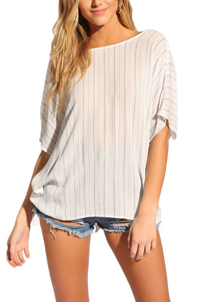 Junior Size Pinstripe Low Back Twisted Blouse - Zipora's Closet Boutique