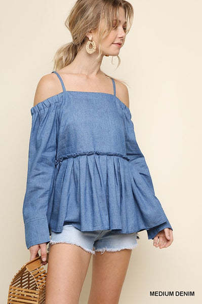 Denim Adjustable Strap Top with Ruffle - Zipora's Closet Boutique