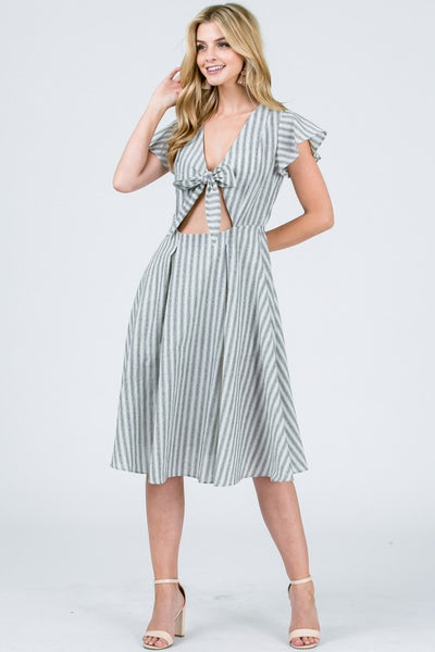 Front Chest Tie Midi Dress - Zipora's Closet Boutique
