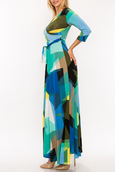 VENECHIA PRINT 3/4 MAXI DRESS - Zipora's Closet Boutique