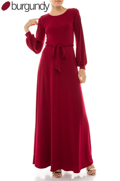 Long Sleeve Round Neck Maxi Dress - Zipora's Closet Boutique
