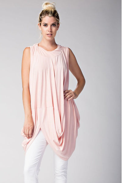SLEEVELESS DRAPED TWISTED COLLAR TOP - Zipora's Closet Boutique