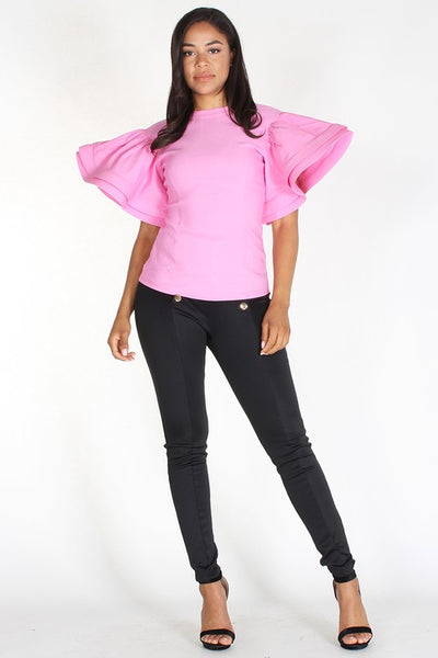 BUTTERFLY RUFFLED SLEEVE TOP - Zipora's Closet Boutique