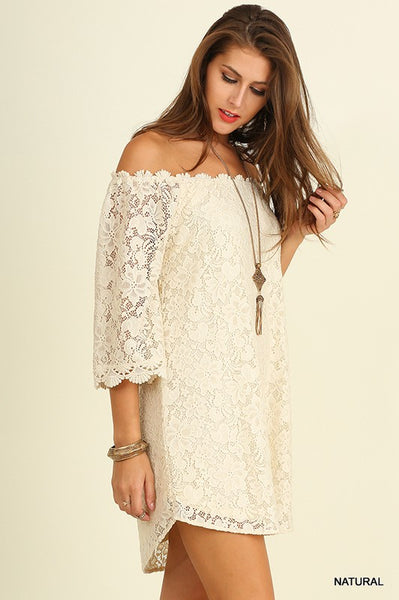 OFF SHOULDER FLORAL LACE DRESS - Zipora's Closet Boutique
