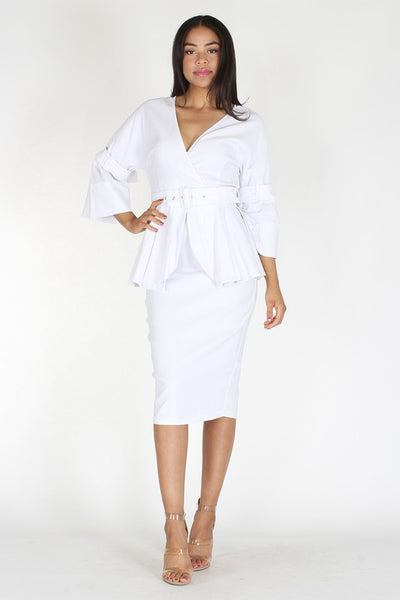3/4 length lantern sleeve dress - Zipora's Closet Boutique