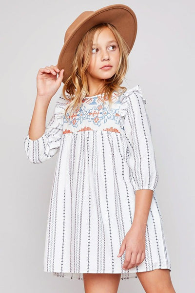 KIDS LONG SLEEVE RUFFLE SHOULDER DRESS - Zipora's Closet Boutique