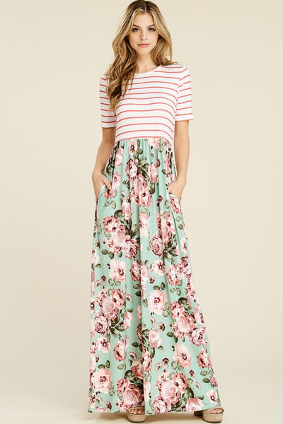 Floral and Stripe Combination Maxi - Zipora's Closet Boutique