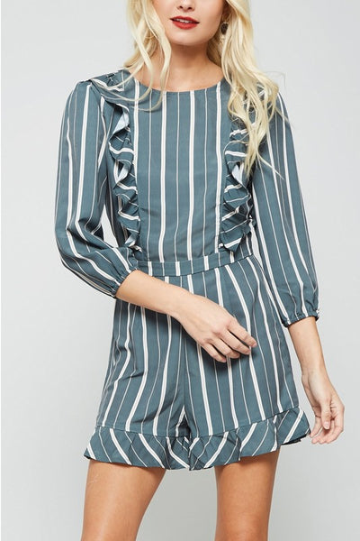 3/4 Striped Sleeve Romper - Zipora's Closet Boutique