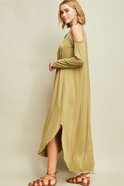 Asymmetrical Shoulder Cutout Maxi - Zipora's Closet Boutique
