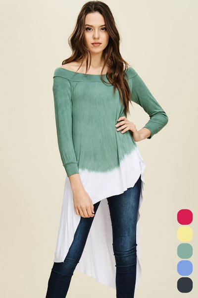 Ombre 3/4 Sleeve Hi-Low Tunic - Zipora's Closet Boutique