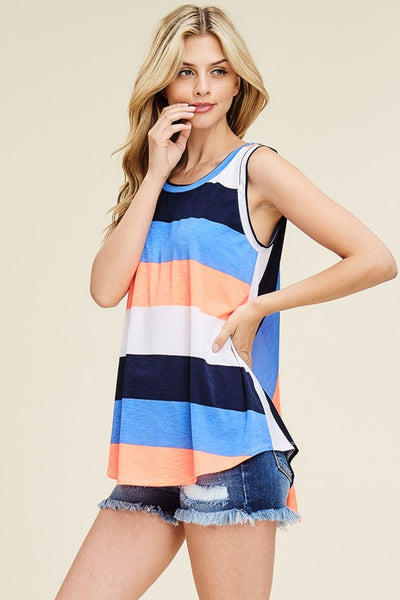 SPLIT BACK SLEEVELESS STRIPED KNIT TOP - Zipora's Closet Boutique
