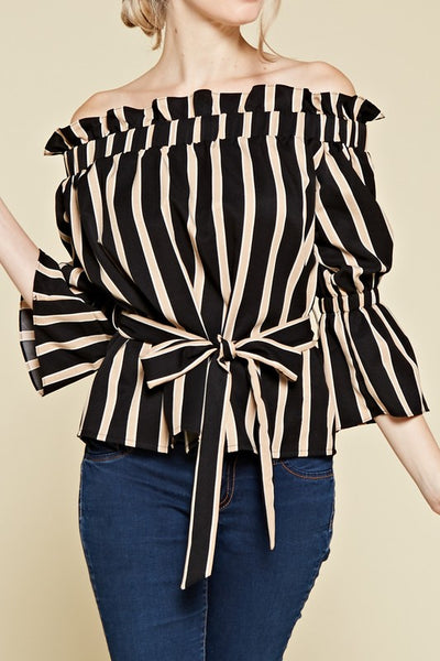 OFF SHOULDER STRIPE PRINT TOP - Zipora's Closet Boutique