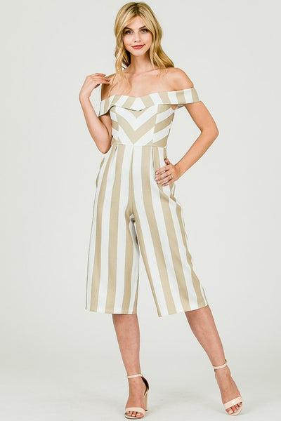 STRIPED OFF SHOULDER JUMPSUIT - Zipora's Closet Boutique