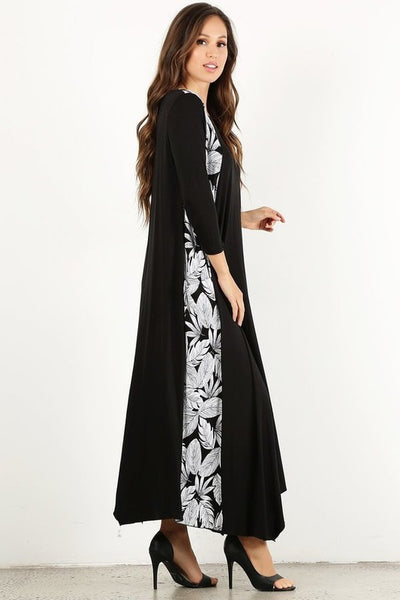Maxi dress  leaves printed  asymmetrical hem - Zipora's Closet Boutique