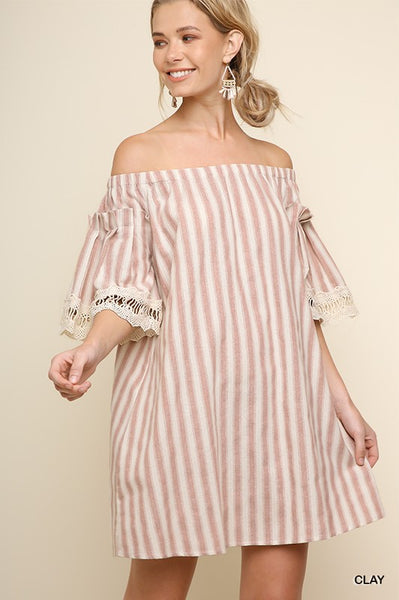 STRIPED OFF SHOULDER POCKET DRESS - Zipora's Closet Boutique