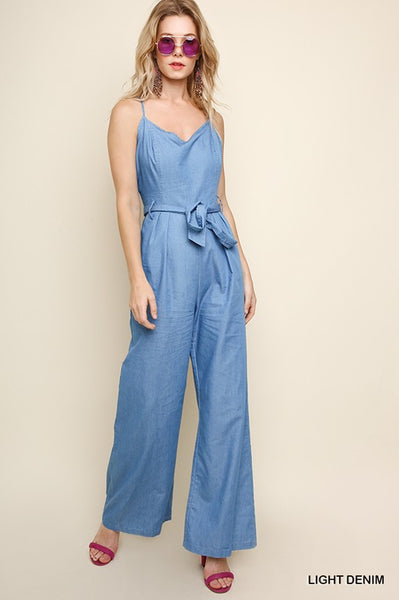 Denim V-Neck Wide Leg Jumpsuit - Zipora's Closet Boutique