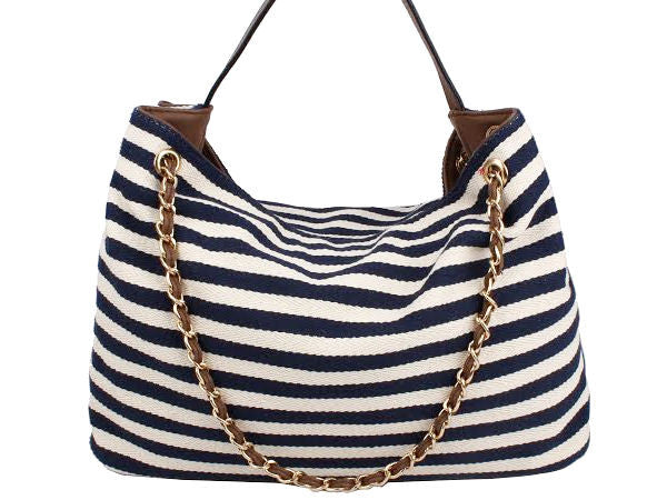 Striped Beach Style Tote - Zipora's Closet Boutique