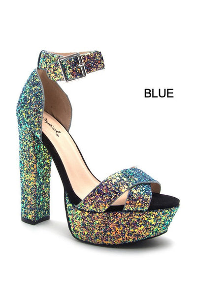 Blue Glitter Pumps