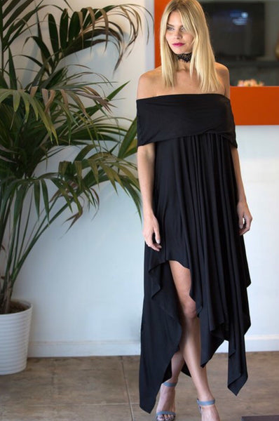Off Shoulder Knee Length Hem Dress