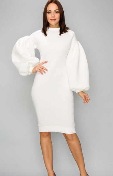 White puff sleeve bodycom