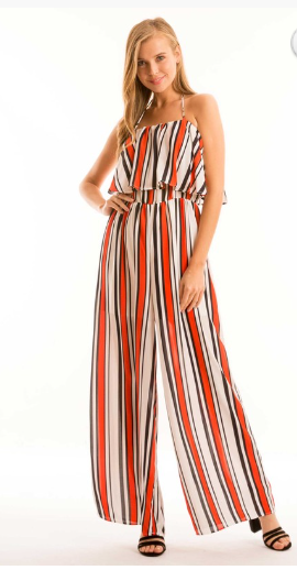 Halter Neck Ruffle Jumpsuit with Elastic Waist - Zipora's Closet Boutique