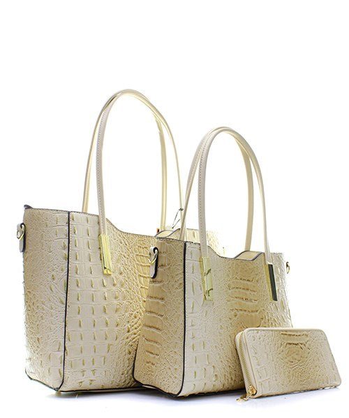 FAUX CROC 3 IN 1 HANDBAG SET - Zipora's Closet Boutique