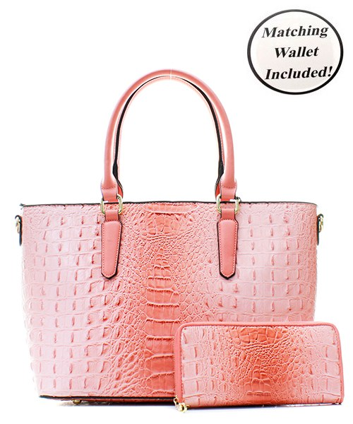 Faux Croc Tote Bag + Wallet - Zipora's Closet Boutique