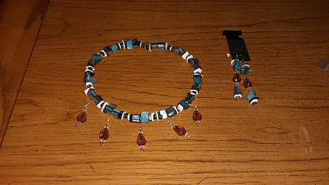 Memory Wire Abalone Chip, Black & Pearl Chip, and AB Purple Teardrop Necklace and Earrings Set