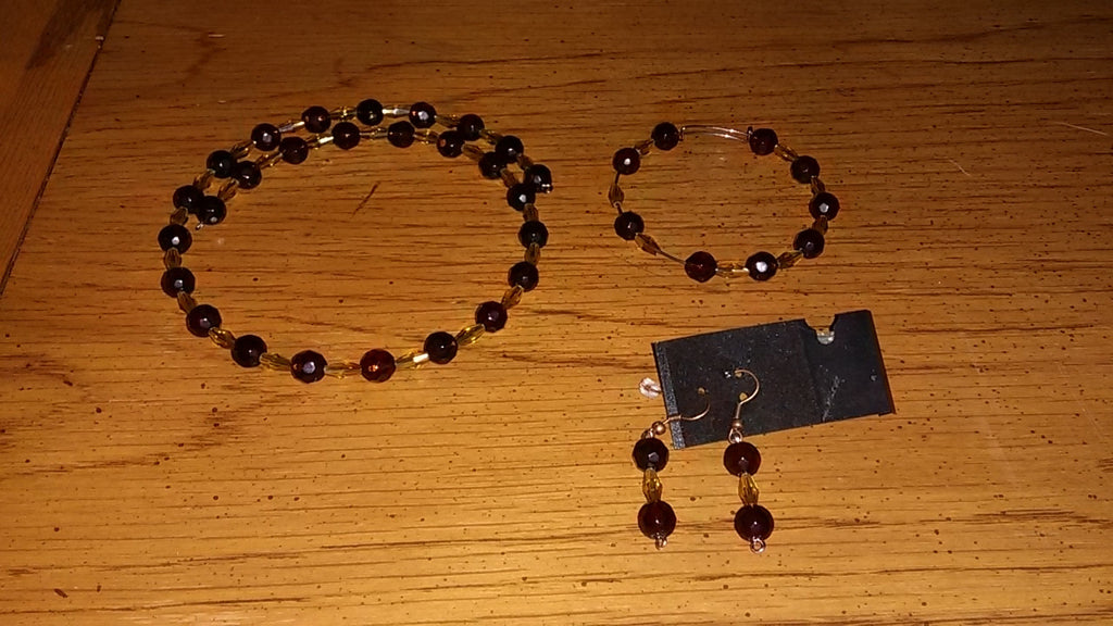 Dark Amber & Yellow Marquise Necklace Bracelet & Earrings Set