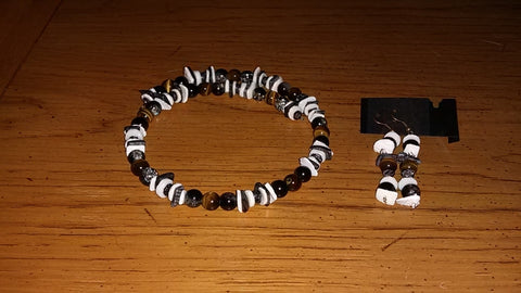 Tiger Eye, Black & Crystal Crackle, Onyx and Pearl Chips Necklace Earrings Set