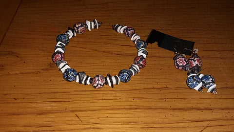 Memory Wire Polimer Clay Flowers and Onyx & Pearl Shell Bracelet and Earrings Set