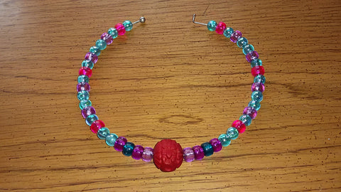 Memory Wire Red, Purple, Blue & Pink Necklace