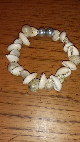 Memory Wire Natural Shell Bracelet