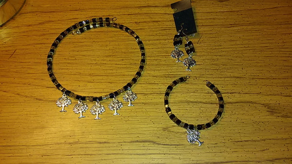 Tree of Life Memory Wire Onyx and Coffee Brown Necklace, Bracelet, and Earrings Set