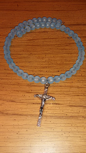 Memory Wire Frosted Turquoise & Cross Necklace