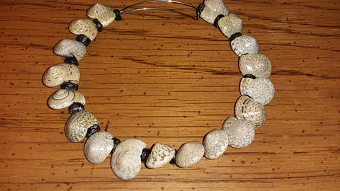 Memory Wire Natural Shell Adjustable Bracelet