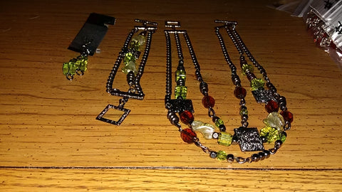 Peridot & Amber Necklace Bracelet and Earrings Set