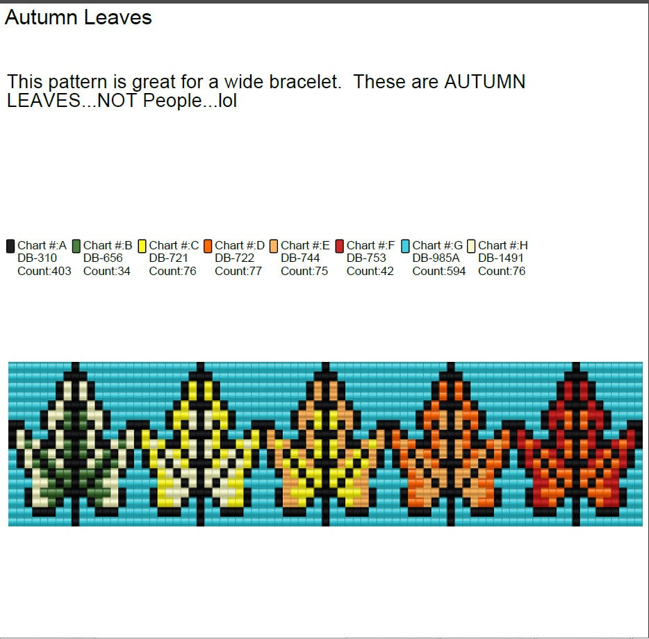 Autumn Leaves Square Stitch (Loom) Pattern