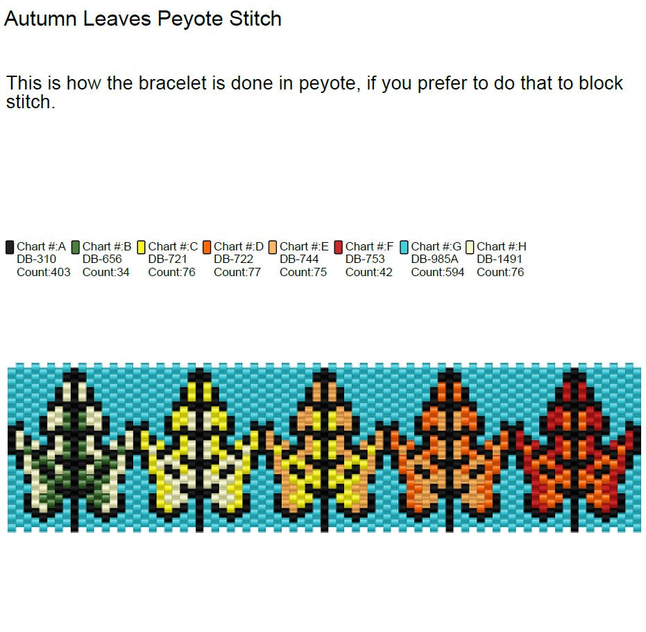 Autumn Leaves Peyote Stitch Pattern