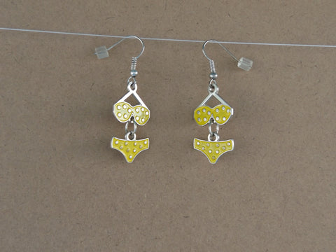 Yellow Polka Dot Bikini Earrings