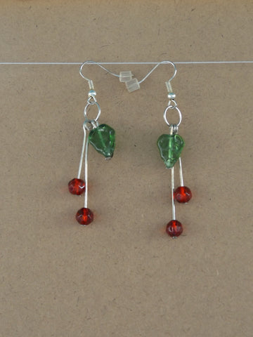 Cherry & Leaf Dangle Earrings