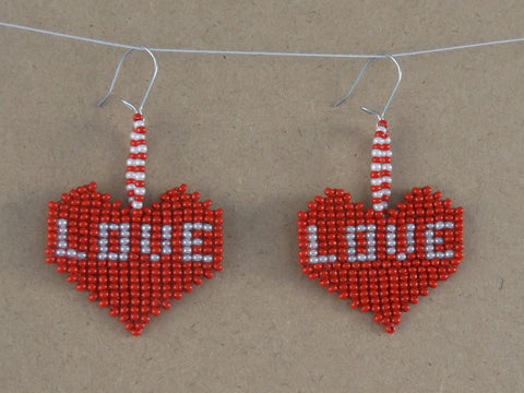 "Handwoven Red & White Valentines ""LOVE"" Heart Earrings"