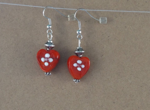 Lampwork Heart Earrings