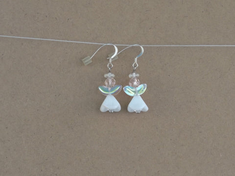 AB Clear & White Large Angel Earrings