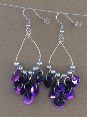 3-In-Center Purple & Black Sequin & Silver Hoop Earrings