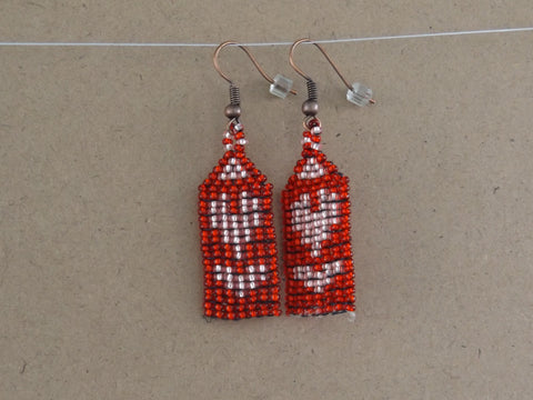 Handwoven Pink & Red Heart Earrings