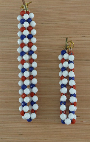 Red White & Blue Faceted Necklace Bracelet and Earrings Set